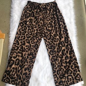 SHEIN Leopard print pants with paperbag waist